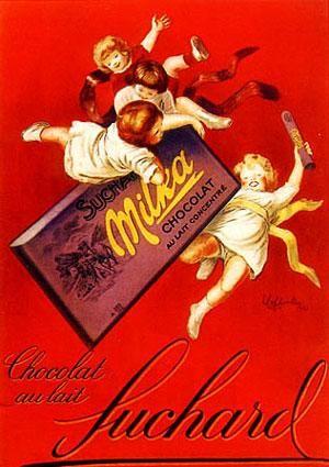 Vintage ad poster: Suchard chocolate Milka / Ancienne affiche publicitaire, vieille publicité: chocolat