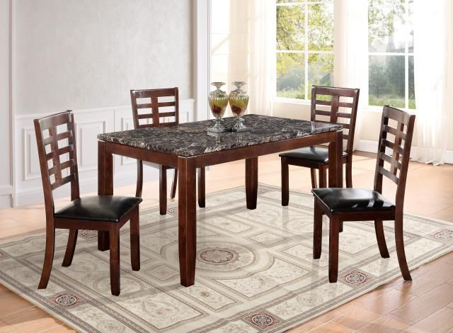 d3743 5pc marble top dining table set global furniture usa