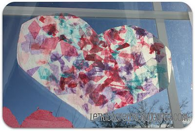 """""""stained glass"""" hearts made with wax paper and tissue paper via Let Kids Create"""