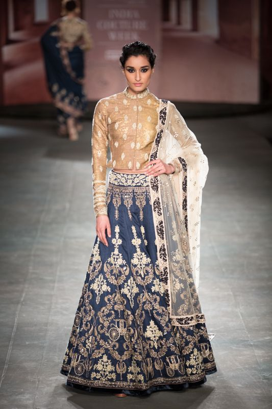 Anju Modi at India Couture Week 2014 - blue grey lehnga with long sleeved gold jacket blouse