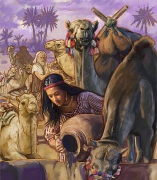 """11. Eleazer identified Rebekah as Isaac's future wife at the well. """"Before [Eleazer] had done speaking, that, behold, Rebekah came...she went down to the well, and filled her pitcher."""" Genesis 24:15-16"""