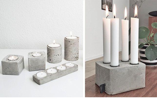 Lysestage i beton, DIY // Lav nemt dine egne unikke stager støbt i bl.a. mælkekartoner, dåser, chipsrør og flasker – ja der er rig mulighed for at være opfindsom! Se guides hos Homesick Blog og Living on a budget