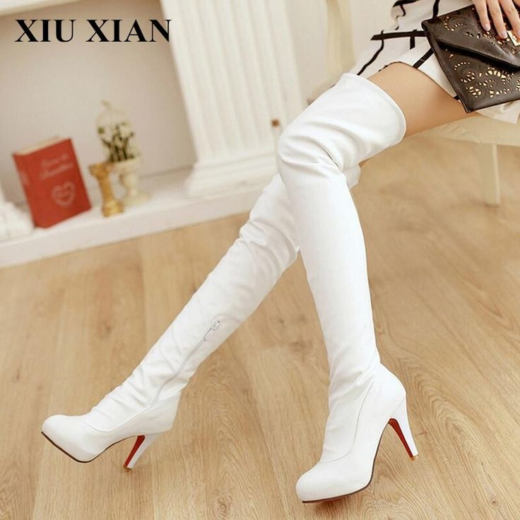 34.12$  Buy here - http://ali4ic.shopchina.info/1/go.php?t=32748448600 - 2017 Winter New Women High Heel Boots Fashion Casual Waterproof Leather Over Knee Hight Boots Black White Platform Boot Shoes PU  #aliexpressideas