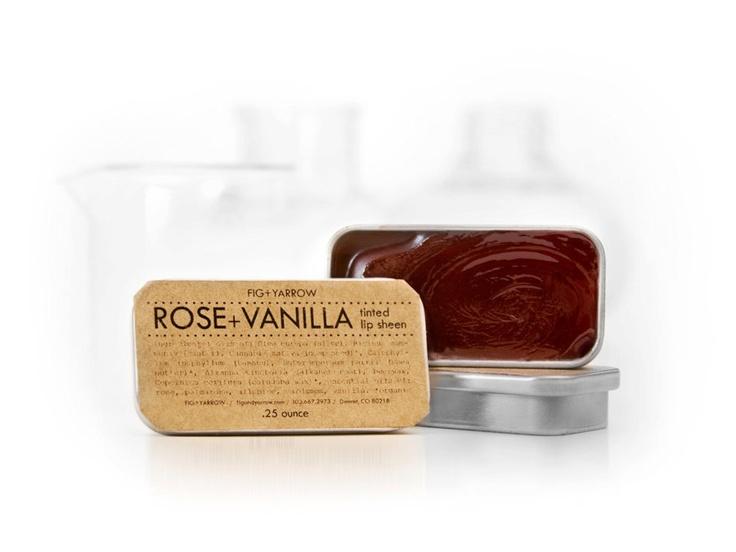 ROSE VANILLA tinted lip sheen in slider tin .25 ounce. $10.00, via Etsy.