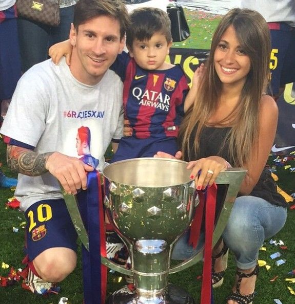 Lionel Messi at Camp Nou with WAG and son