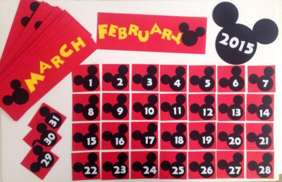 Kindergarten Preschool Disney School Calendar Pocket Chart Cards Mickey Mouse