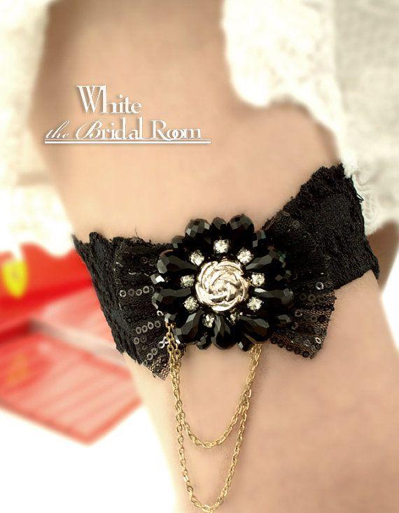 Black Rhinestone Flower Garter, Black Floral Sequinned Wedding Garter, Rhinestone Crystal Bridal Garter Belt, Black Bride Garter $27.80 #handmade #weddings