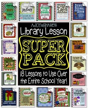 Library Lesson SUPER PACK for the entire school year! Fun, creative, interactive lessons for elementary students. * Library Lesson Plans