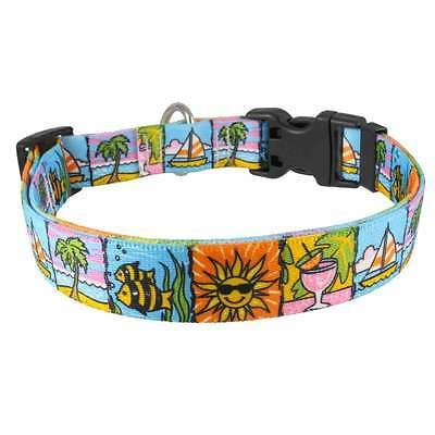 #Seaside #beach nylon dog #collar patterned webbing sea sun fish sailing boat sty,  View more on the LINK: 	http://www.zeppy.io/product/gb/2/251667987502/