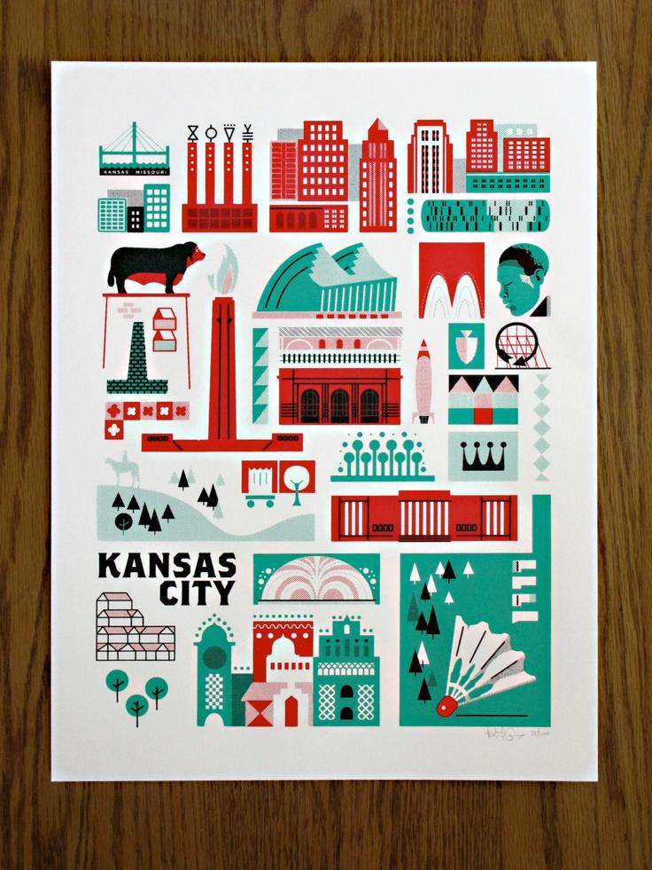 Want!! - Kansas City Landmark Print. $25.00, via Etsy.