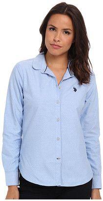U.S. POLO ASSN. Long Sleeve Dot Print Oxford Shirt - Shop for women's Shirt - Campanula Shirt