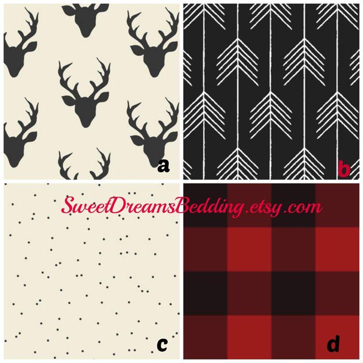 Custom Crib Bedding Deer Plaid Arrow In Red And Black By SweetDreamsBedding On Etsy NurseryRustic NurseryBaby Boy