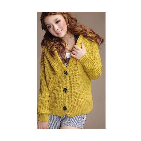 Buy Thicken Women Knitting and Wool Blends Yellow Hoodie Free Size... via Polyvore