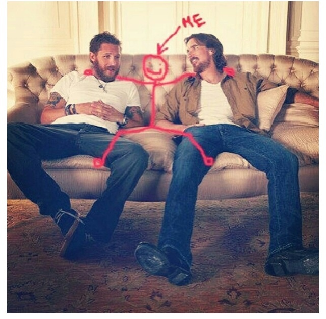 Tom Hardy, me & Christian Bale. Just hanging out, no big deal.