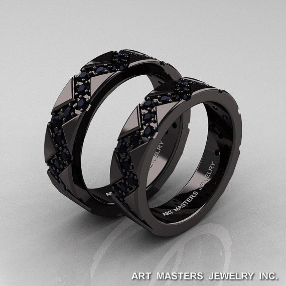Classic Armenian 14K Black Gold Black Diamond by artmasters, $3299.00