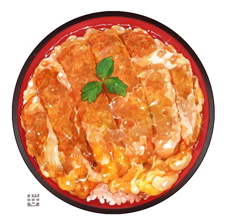 「半熟卵のロースカツ丼」/「もみじ真魚」のイラスト