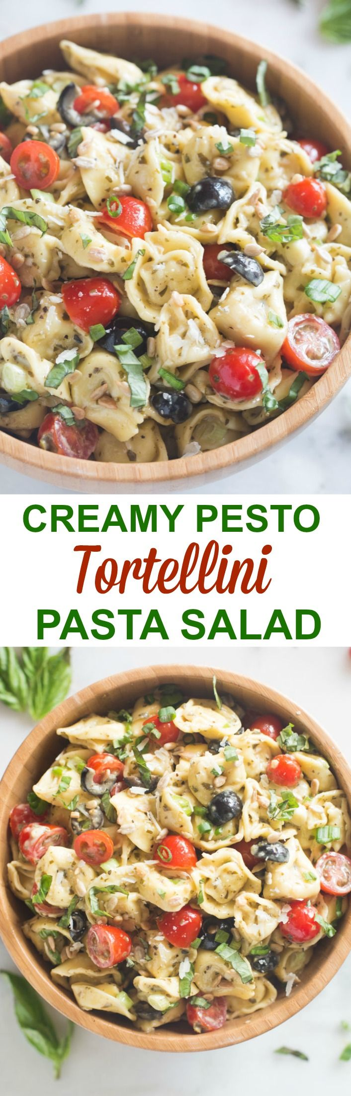 Creamy Pesto Tortellini Pasta Salad is completely delicious and comes together in just a few minutes. The creamy caesar pesto dressing shines paired with tender tortellini pasta. This is a family-favorite! | Tastes Better From Scratch