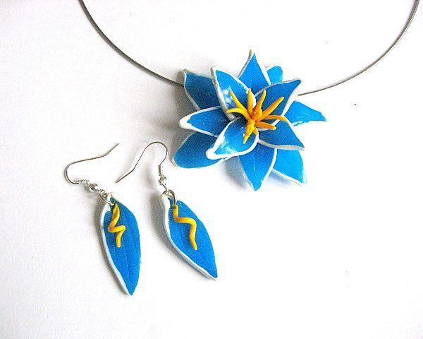 #Bijuterii #3D #cercei si #colier #fimo model #flori #exotice