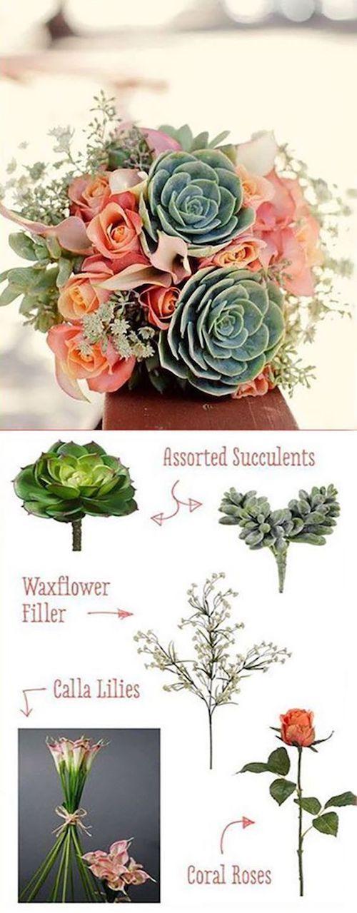 Suculentas, rosas, cala lilies y flores de relleno para un centro floral muy boho.