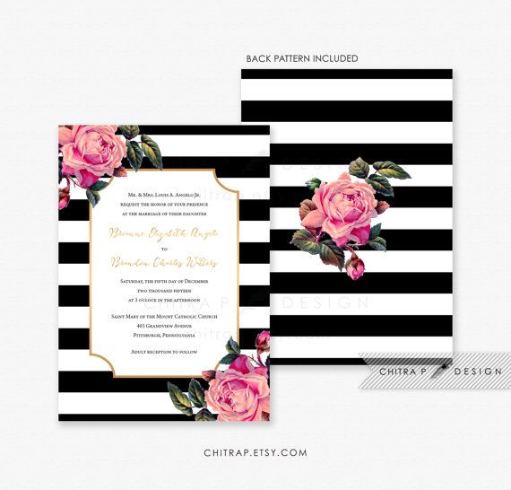 Pink, Black & White Wedding Invitations with Luxe White Envelopes - Printed, Gold Floral Invite Rose Striped Modern Formal Kate Engagement Winter Boho Bridal - SHOP: chitrap.etsy.com