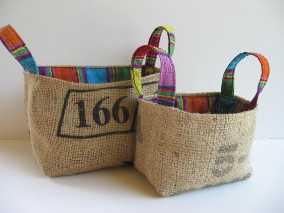 Burlap Bins, Repurposed Coffee Bean Bags, Lined with Guatemalan Striped Fabric, Eco Bins, Set of Two