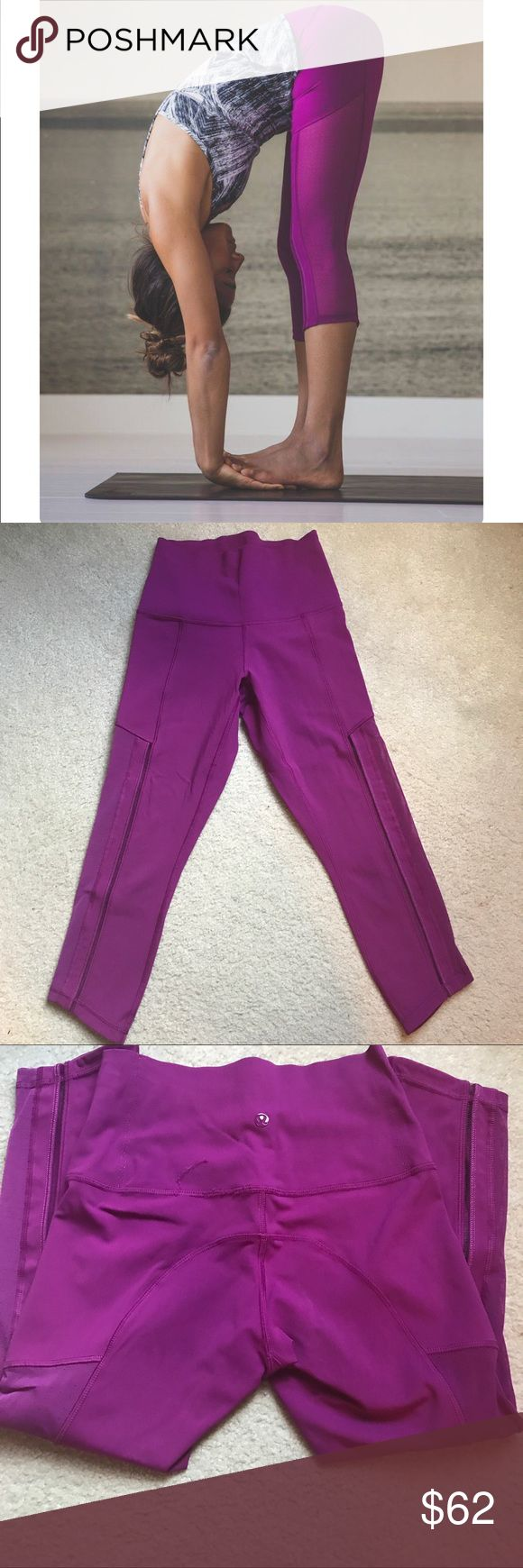 Lululemon hot street Crop In great condition. Small thread tag see pics but I'm sure if you take it to lululemon store they can fix it.  If you have any questions please ask lululemon athletica Pants Leggings