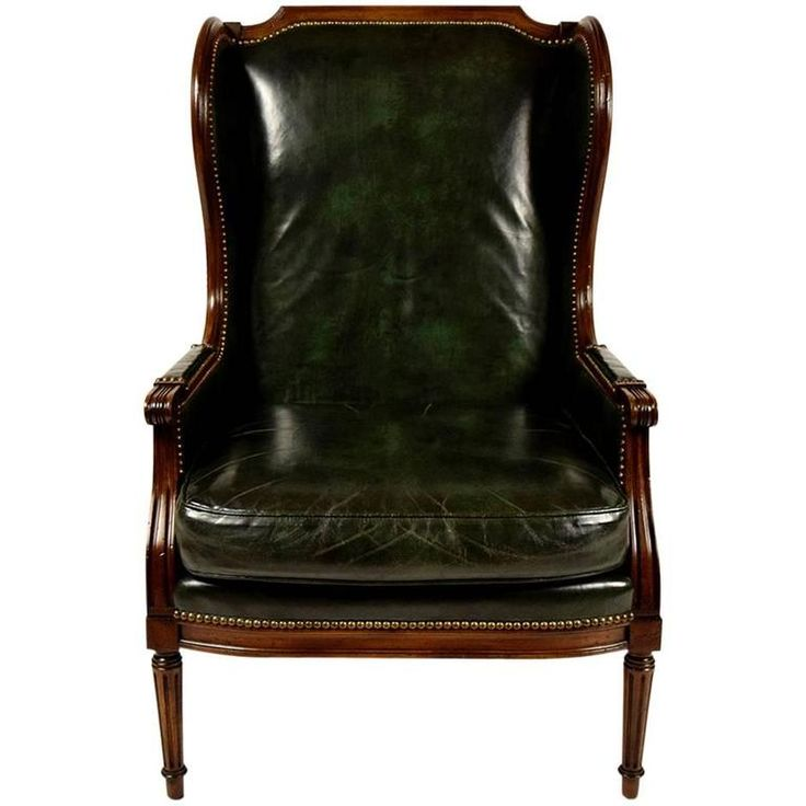 vintage hickory leather wingback chair