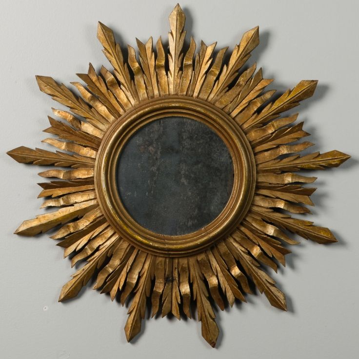 mid century carved gilt wood sunburst mirror item7509
