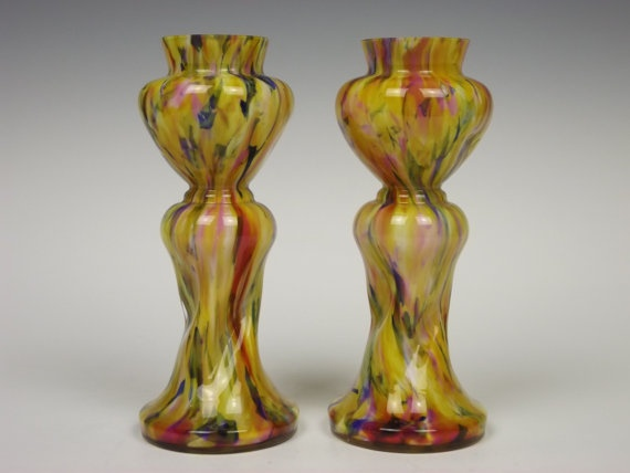 Black Spatter Glass Bottle Vase