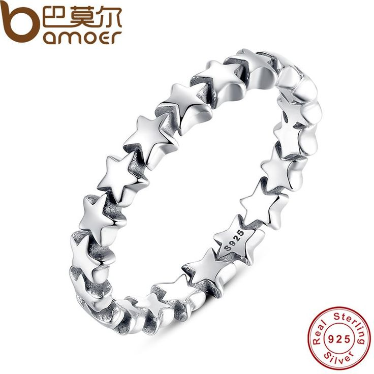 BAMOER Star Trail Stackable Finger Ring For Women Wedding 100% 925 Sterling Silver Jewelry 2016 New Collection PA7151 //Price: $19.32 & FREE Shipping //     #hashtag4