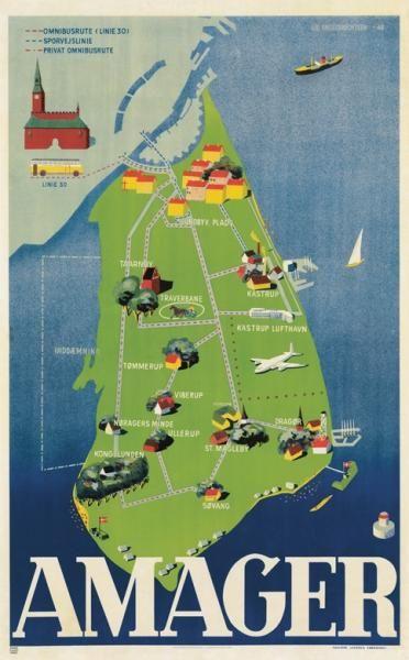 Der findes ligeledes spændende seværdigheder udenfor city. Amager byder bl.a. på Kastrup Lufthavn og hyggelige Dragør. Lis Engelbrechtsen har lavet plakaten i 1948.