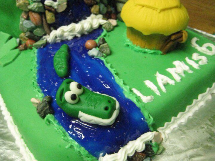 Croc in river jungle cake