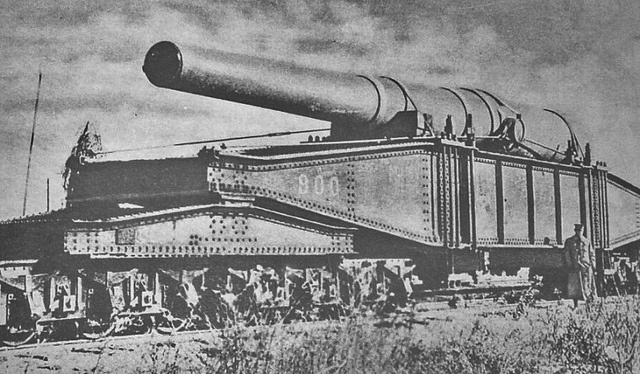 Rail Gun - a 16 inch Naval Gun  Outstanding invention - An American Naval Gun mounted on a rail car, created a sensation in France because of the tremendous range. But It had to be reassembled off the flat-car.
