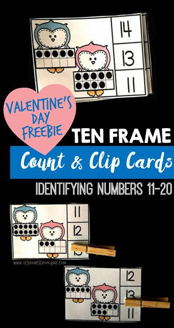 Valentines Day Clip Cards - Numbers 11-20
