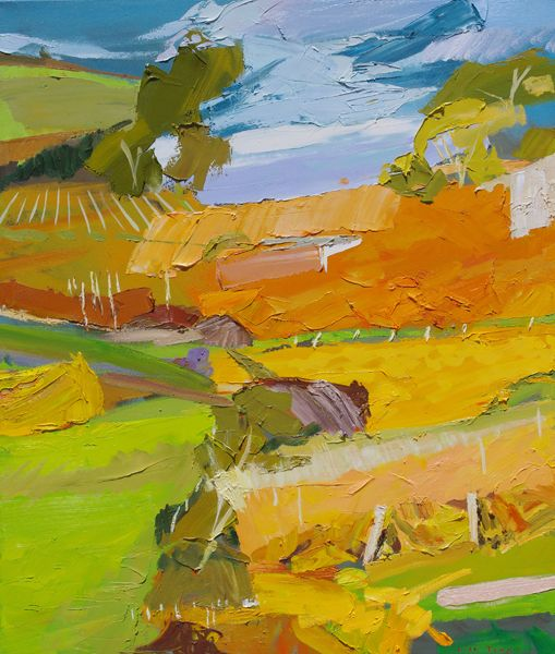 Abstract landscape painting of Clare Valley vineyards in autumn, gold colours