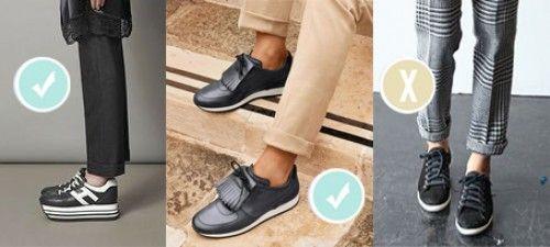 _sigaretta-Certo questo non è un modello da sneakers ma tra le scarpe da ginnastica meno sportive di possono scegliere le più spesse, possibilmente in pelle o scamosciate e di un colore non troppo a contrasto con il pantalone. Sarà però imperativo avere la caviglia nuda, quindi scegliete tra fantasmi o super invisibile e gamba letto color carne.