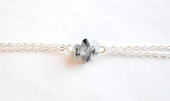 Rutilated Quartz Bracelet Dainty Gold/Silver Chain by IndigoLizard