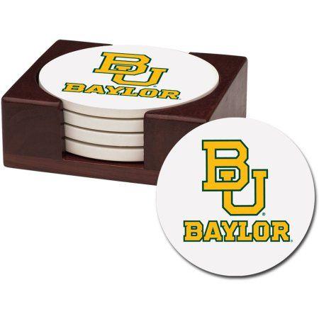Stoneware Drink Coaster Set with Holder Included, Baylor University, Multicolor