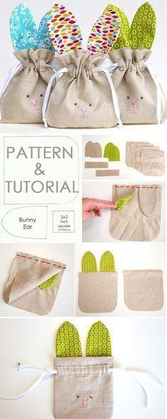 Tendance Sac 2017/ 2018 : How to Sew simple Drawstring Bunny Bag. Tutorial & Pattern www.free-tutorial