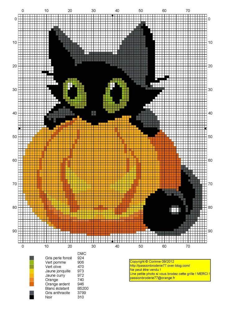 Free Halloween Cross Stitch Patterns | awww kitty pumpkin cross stitch