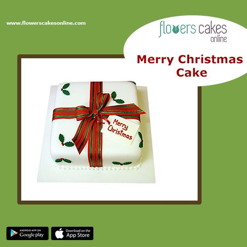 Christmas is just around the corner. Plan your party. Get this Merry Christmas Fondant Cake and make the day memorable. It is available in four flavours: chocolate, vanilla, butterscotch and pineapple. #FlowersCakesOnline #Christmas2017