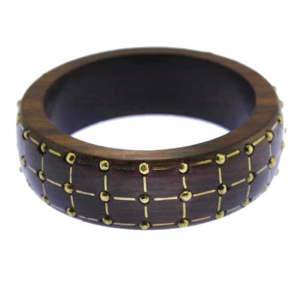 Brass Stud Wood Bangle Bracelet