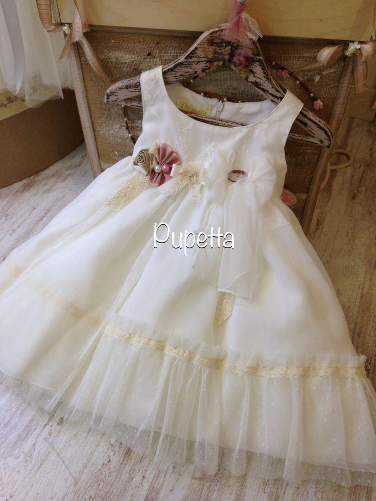"""Βαπτιστικό φόρεμα """"Pupetta"""" (Baptism dress-girl-baby-handmade). www.nikolas-ker.gr"""