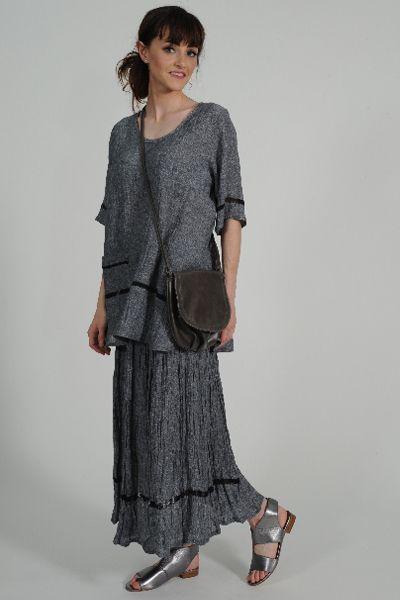 Quin linen skirt, Vila linen top, NZ made Leather Bag, Petrol pewter leather sandal