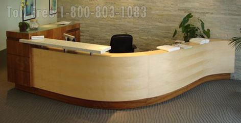 Image result for real wood reception desk