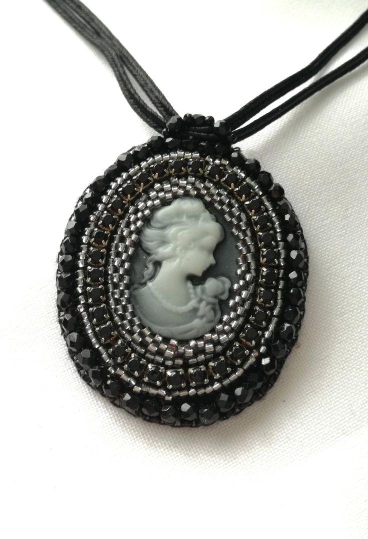 Lady in Black  .... Handmade Beaded Pendant - Memet Jewelry by MyMemet on Etsy