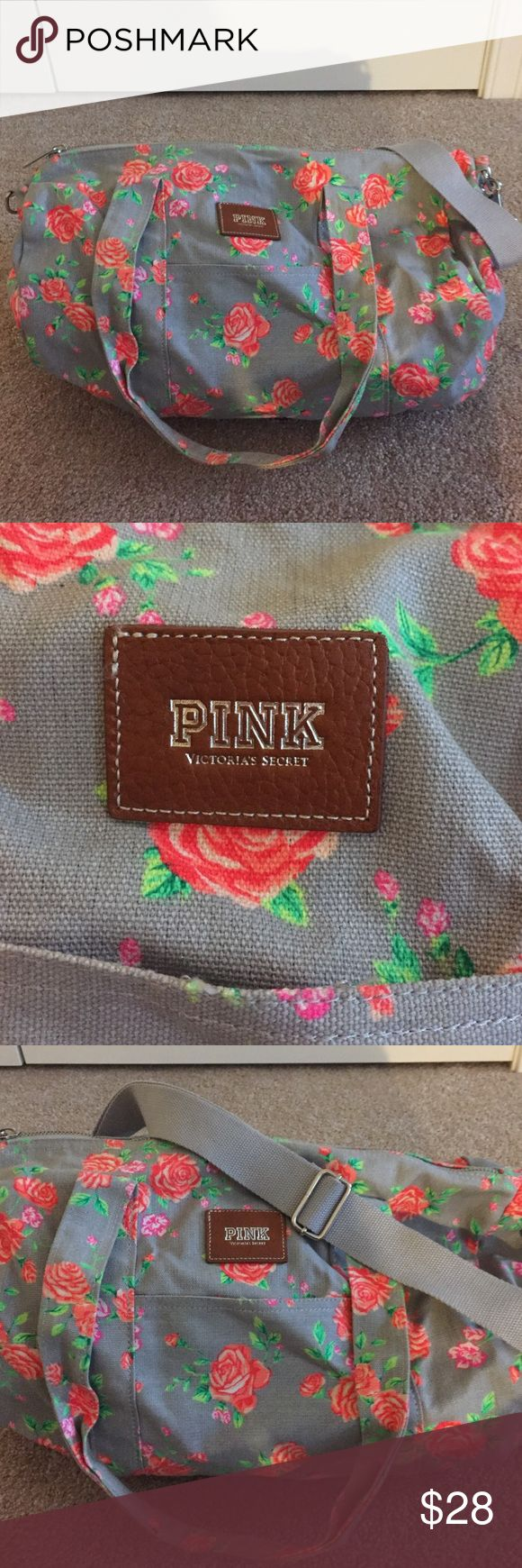 VS Pink floral duffel Used once- small canvas duffel bag great for weekend trips. Has carry handles and a long strap. Will include free Vera Bradley coin purse with purchase. ALL OFFERS CONSIDERED PINK Victoria's Secret Bags Travel Bags