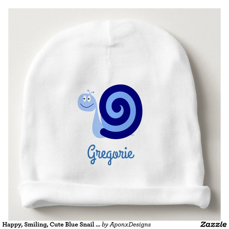Happy, Smiling, Cute Blue Snail Character + Name