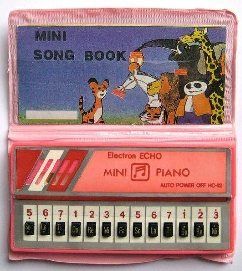 I distinctly remember my amazement at these gadgets- how they were so small yet created an electronic sound. The first in handheld technology! (Essentially a calculator that is a keyboard). 1985