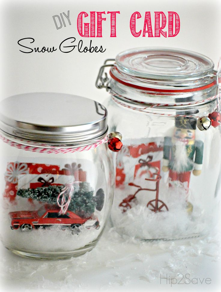 Fun way to give gift cards! Make a snow globe - maybe with a theme to fit the person or card.